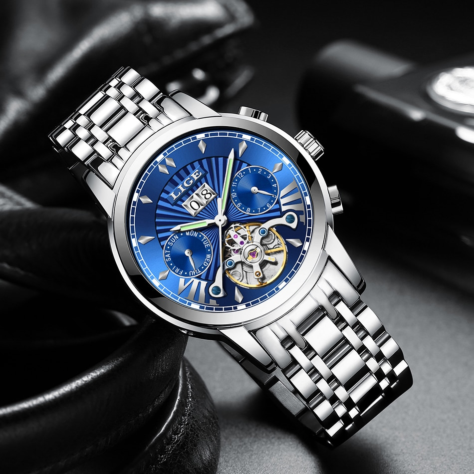 LIGE de lujo clásico automático mecánico hombres reloj de negocios hombres Tourbillon impermeable hombre reloj de pulsera reloj Masculino