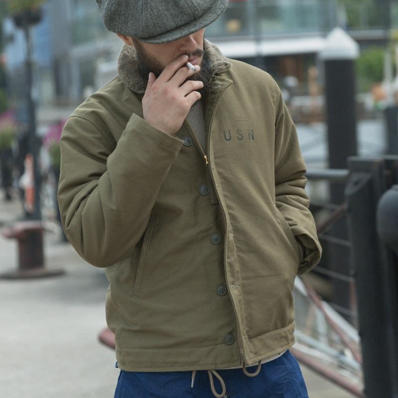 ¡Lea la descripción! Chaqueta azul marino Bronson talla asiática mazo N1 hombres corto militar grueso chaqueta de lana caliente