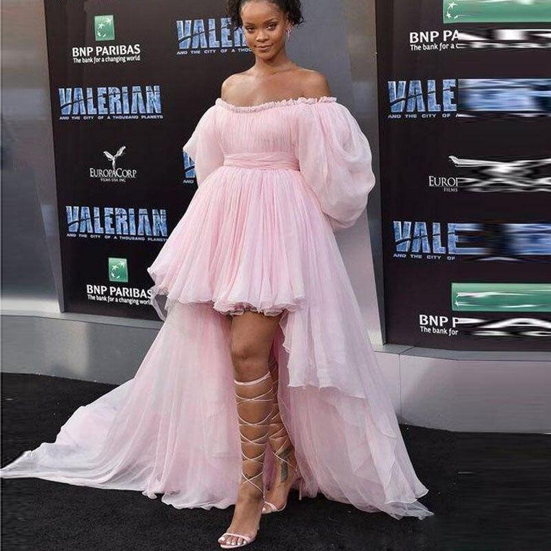 Vestidos de Noche de color rosa, vestidos formales con mangas abullonadas, vestidos de fiesta abendkleider para mujer con mangas, vestidos de fiesta