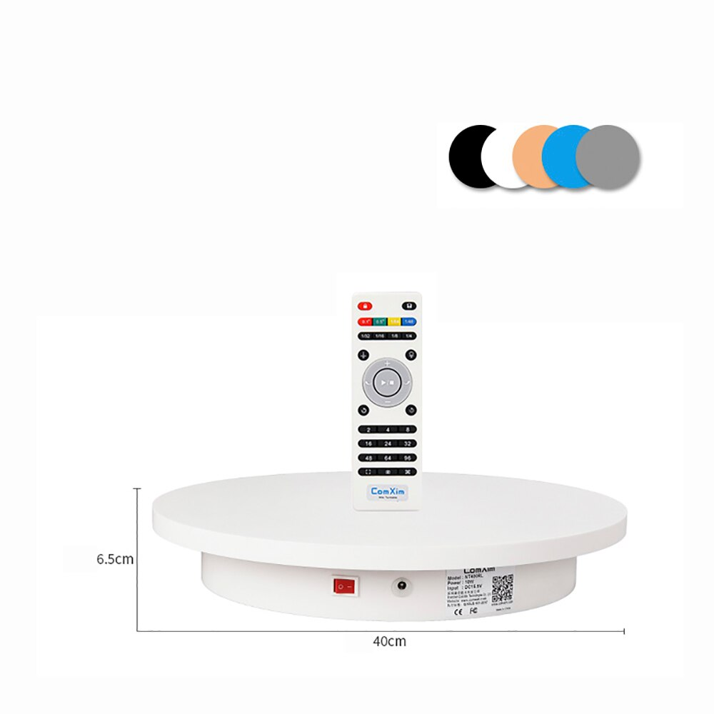 Mesa giratoria eléctrica de 40CM con Control remoto de 360 grados y soporte de pantalla para fotografía mesa giratoria automática AC 100-240V