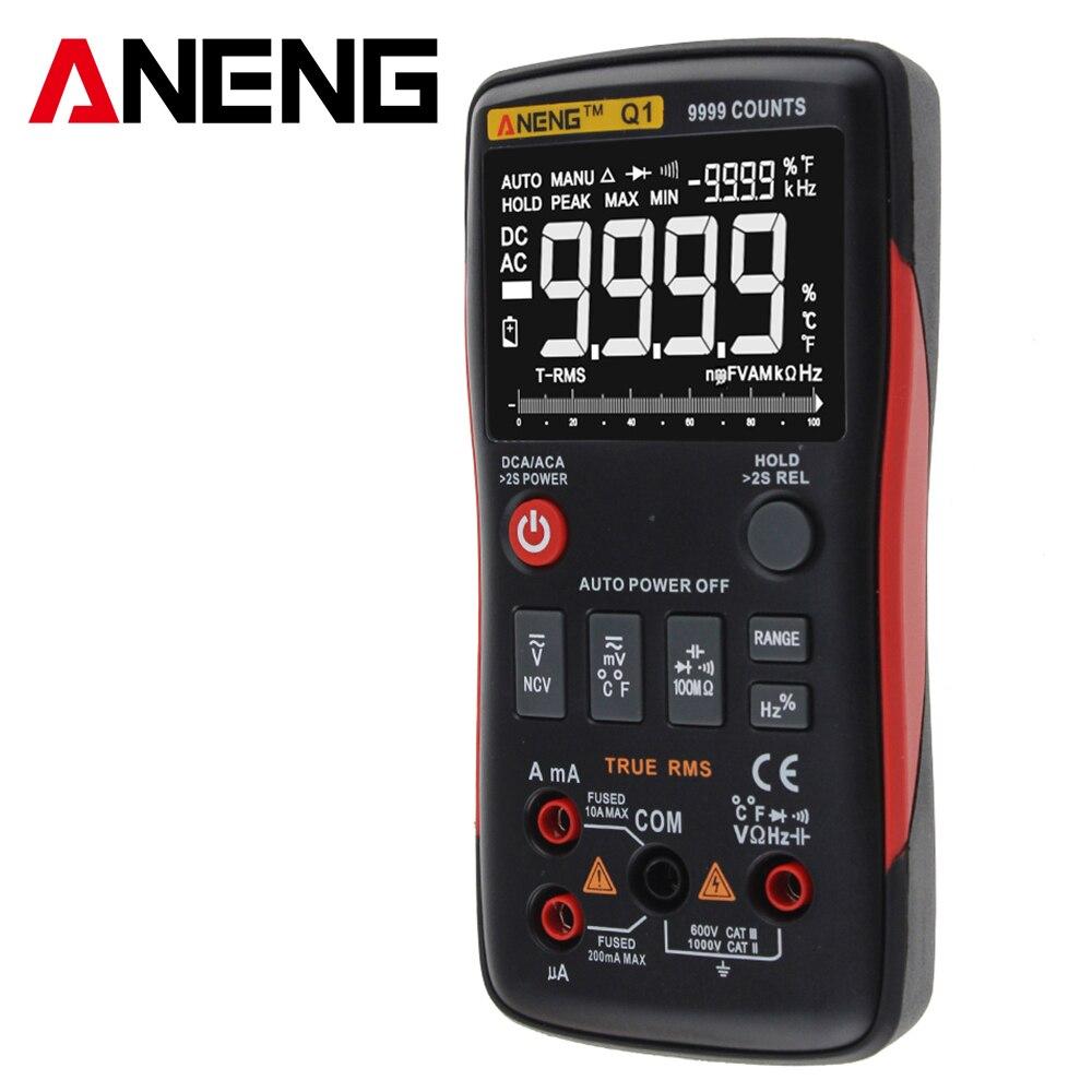 Aneng q1 true-rms multímetro digital botão 9999 contagens com gráfico de barras analógico ac/dc tensão amperímetro corrente ohm automático/manual