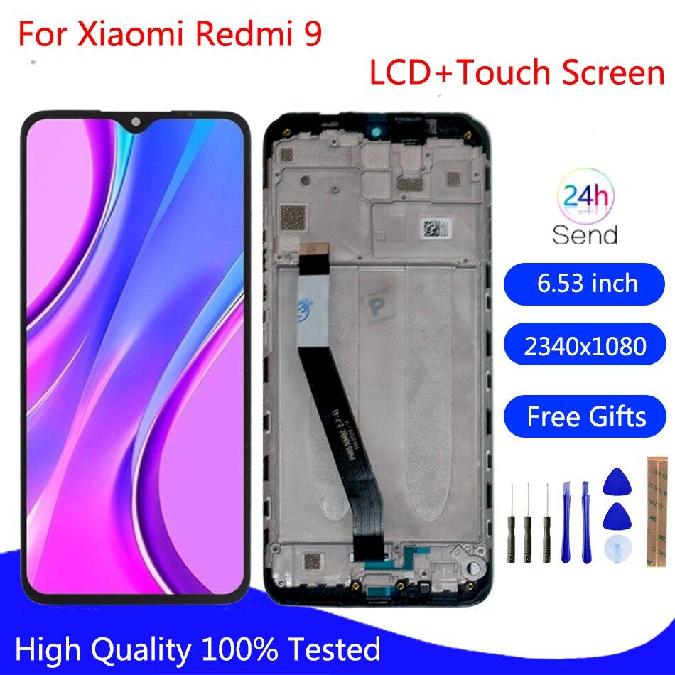 شاشة LCD أصلية لـ Xiaomi Redmi 9, شاشة أصلية لـ Xiaomi Redmi 9 شاشة عرض LCD تعمل باللمس مجموعة المحولات الرقمية أجزاء الهاتف لشاشة Redmi 9 M2004J19G LCD