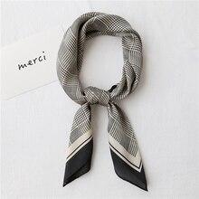 Luna & dauphin-foulard carré femme 70*70cm   Petite écharpe pied-de-poule, noir blanc en mousseline, bandeaux soie, sac Bandana, écharpe de cou Hijab