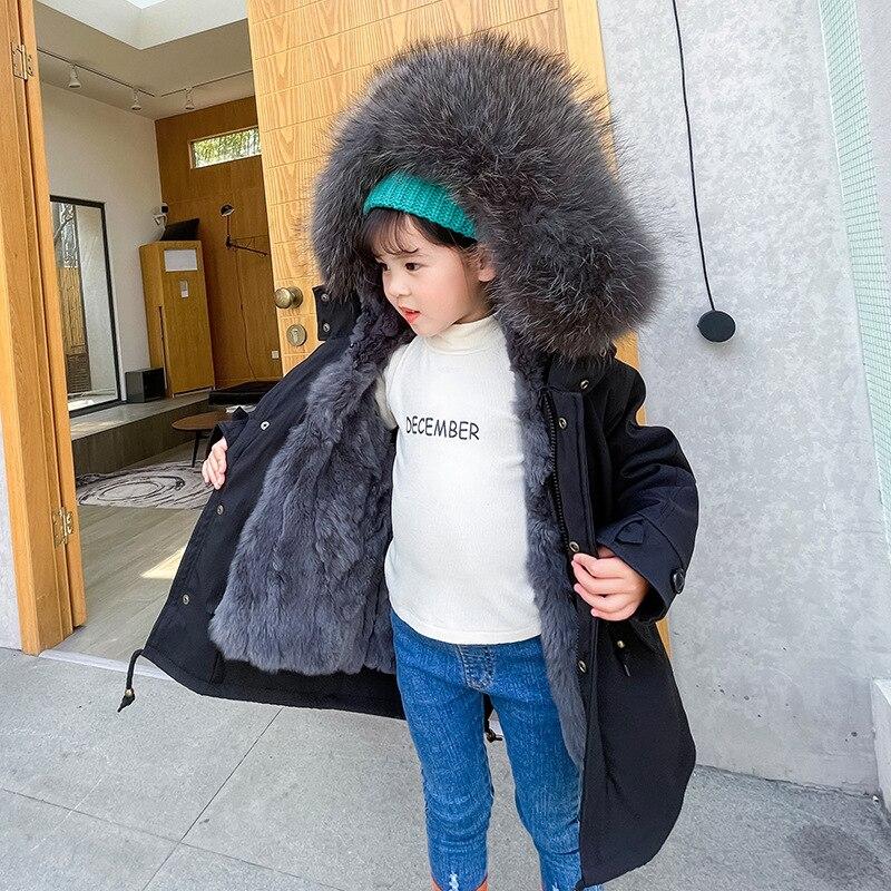 2021 Winter Fur Children Cold Coat Boy Hooded Warm Girls Jackets Outdoor Sport Boy Snowsuits Windproof Teenager Kids Ourerwear enlarge