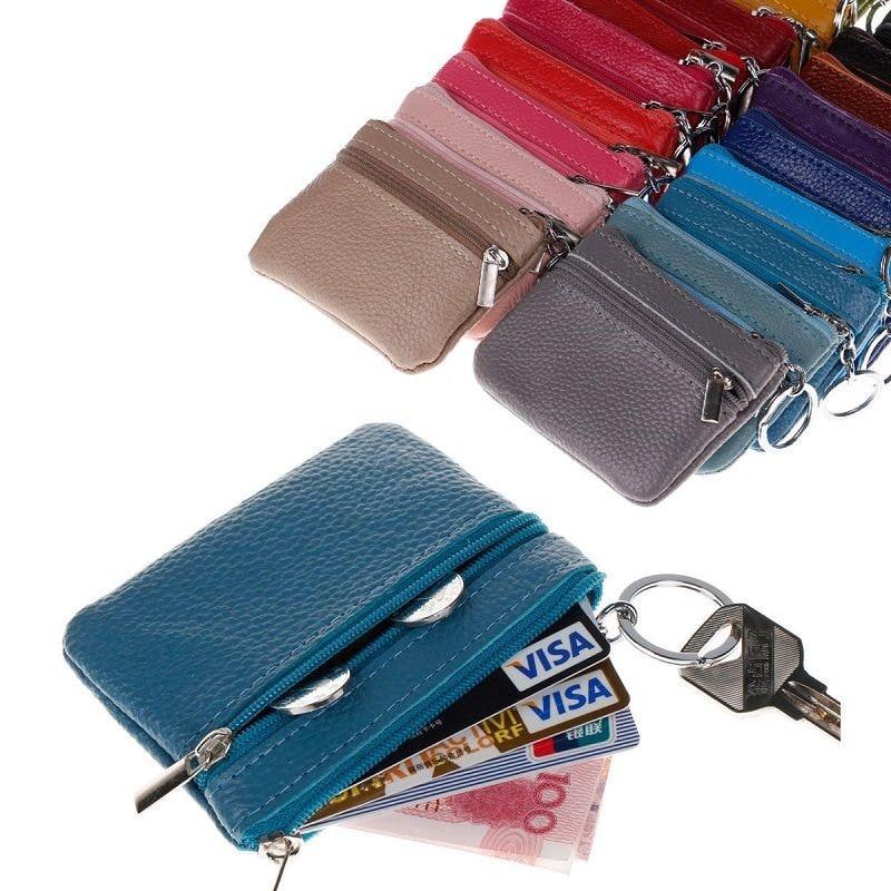 Carteira pequena de couro pu, bolsa carteira pequena feita em couro sintético de poliuretano com zíper, porta-cartões