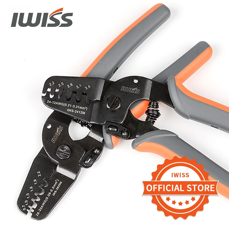 IWISS محطات العقص أدوات IWS-2412M/IWS-2820M ل تجعيد AWG24-12/AWG28-20 المربى ، موليكس ، تايكو ، JST محطات والموصلات