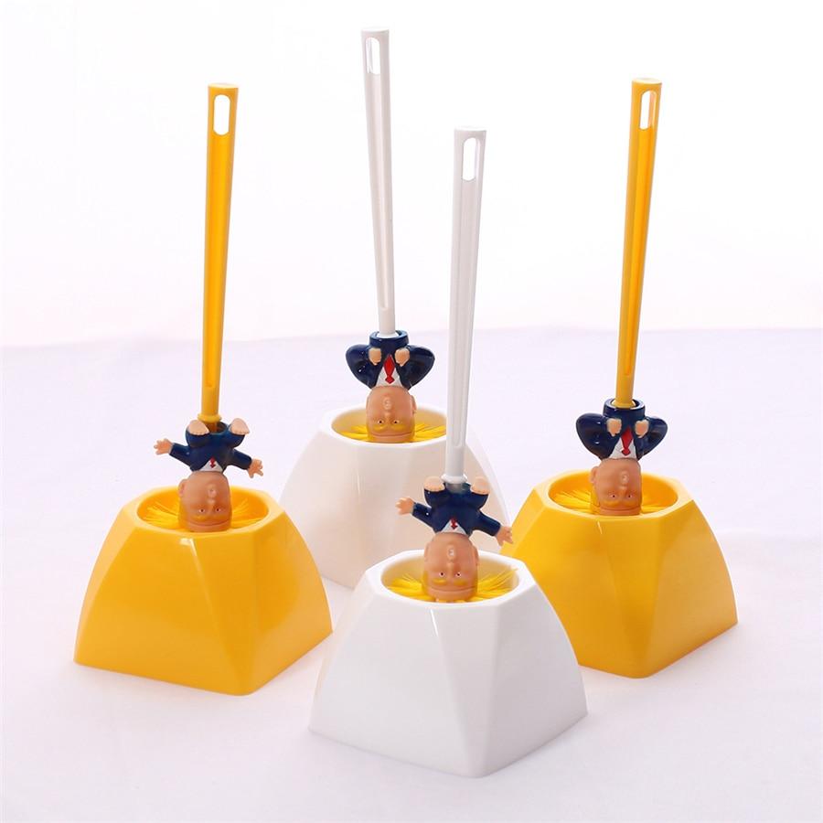 Kreative Trump Wc Pinsel Halter Donald Trump Wc Pinsel Kopf Silikon Bad WC Reinigung Pinsel Set Reiniger Gelb Pinsel