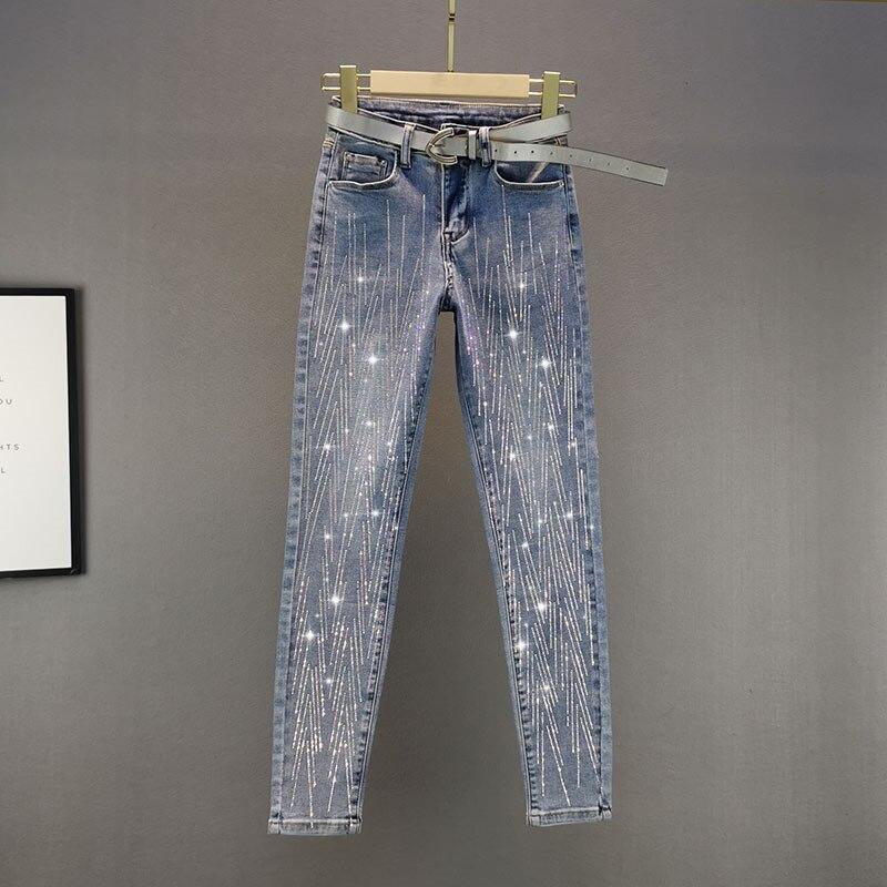 بنطلون جينز نسائي مغسول عتيق ، ملابس قطنية مرنة ، نحيف ، نمط عتيق مرصع بالألماس ، مجموعة ربيع وخريف 2021