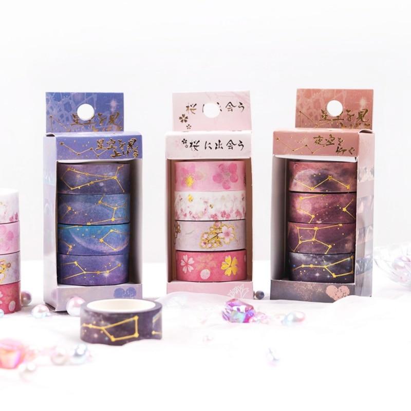 4 rollos impresos Washi cinta de papel decorativa se pueden rasgar directamente para las artes y artesanías de regalo envolver los planificadores de álbum de recortes