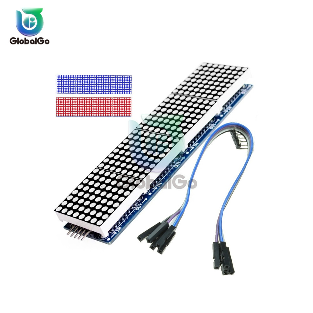 max7219 led microcontroller 4 in 1 display dot matrix module 5v operating voltage for arduino 8x8 dot matrix common MAX7219 Dot Matrix Module Microcontroller 4 In One Display with 5P Line