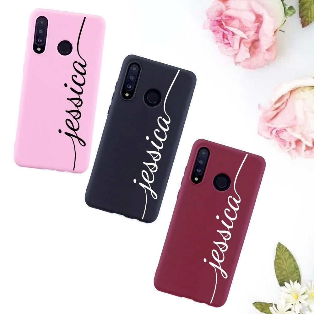 Cursive Personalized Customize Name Candy Silicone Phone Case Fundas For Xiaomi Mi Redmi Note 5 6 7 8 9 10 lite Pro Plus