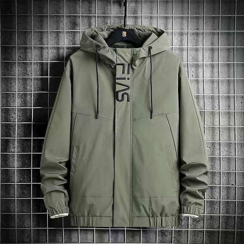Новинка 2021, осенне-зимняя мужская ветровка, модная Простая мужская куртка с капюшоном, мужская спортивная куртка с капюшоном для путешестви...
