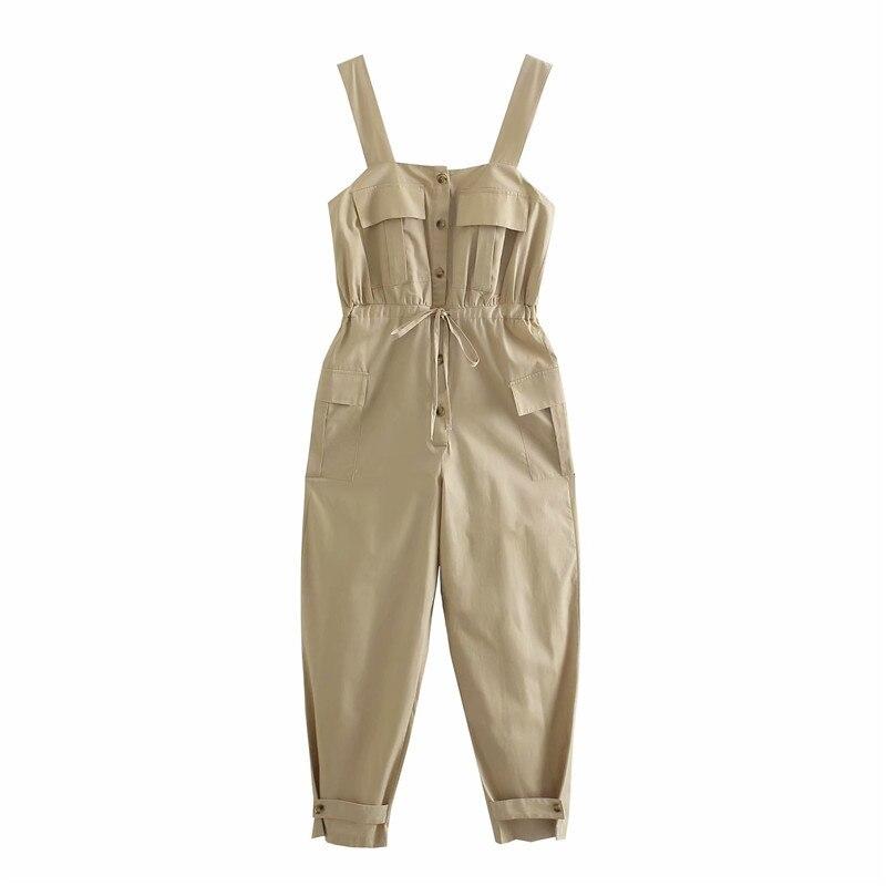 DOUJILI модные летние комбинезоны высокого качества однотонные новые стильные повседневные Комбинезоны и Комбинезоны женские брюки