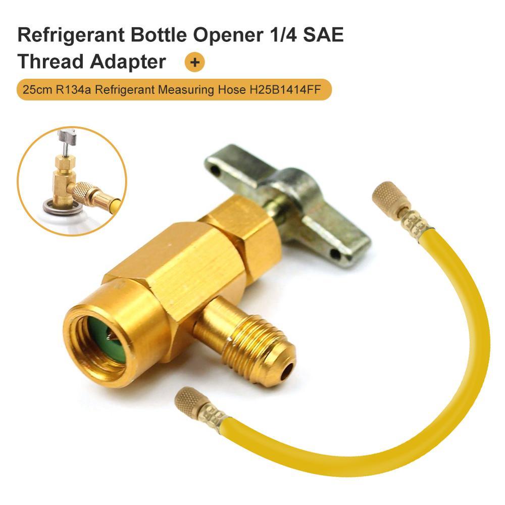 Abridor de garrafa refrigerante ar condicionado do carro 1/4 sae sae adaptador de rosca R-134a válvula abridor de garrafa acessórios automóveis