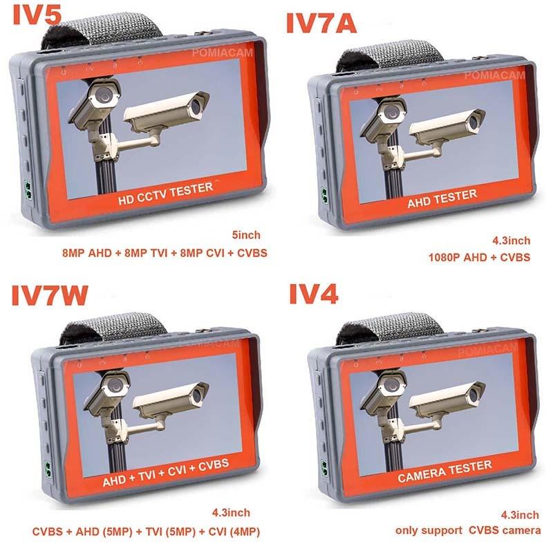 CCTV Tester Monitor IV5 IV7W Analog Kamera Testing 1080P AHD TVI CVI CCTV Test-Monitor RS485 PTZ controller power 12V ausgang