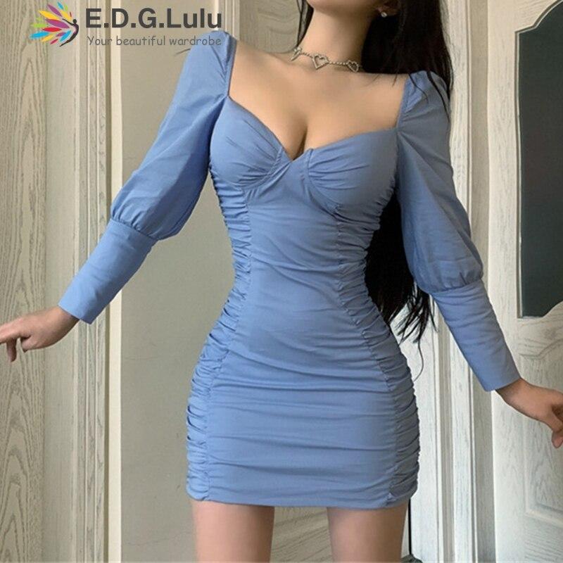 EDGLuLu Primavera Verano 2020 v-cuello de manga larga Vintage Chic Sexy elegante Ruched Mini ceñido al cuerpo vestido azul para las mujeres 0404
