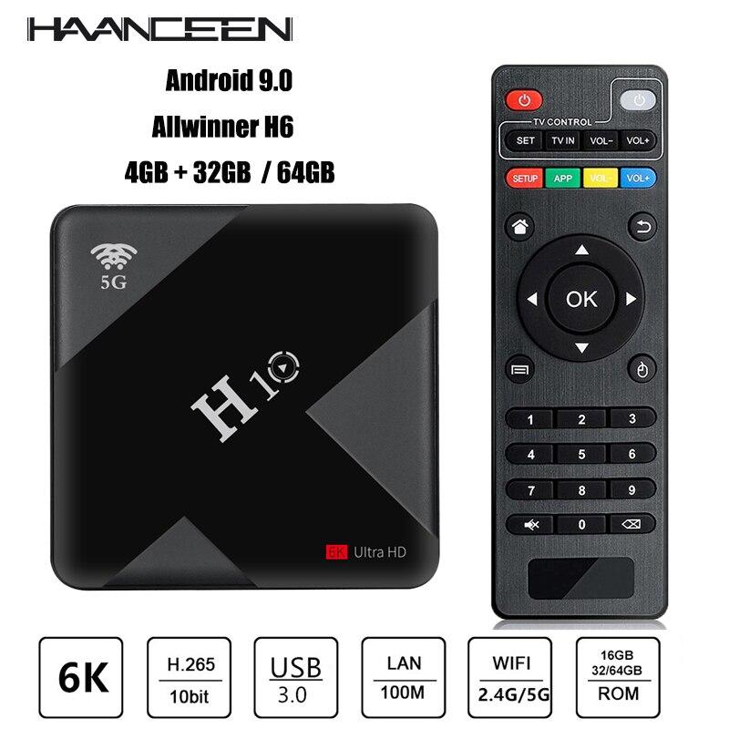 Тв приставка H10 Android 9,0 TV Box 4GB 64GB Allwinner H6 Quad Core 6K caja de TV inteligente 4GB 32GB Dual Wifi 2,4G/5G USB3.0 Set top box