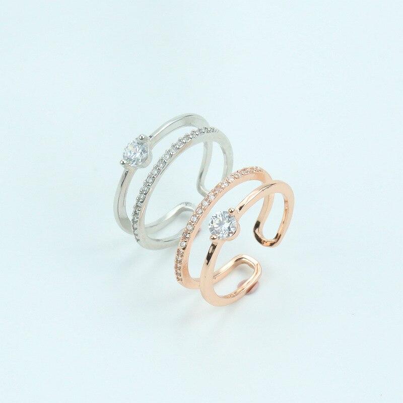 925 пробы двухслойные серебряные кольца с кубическим цирконием ручной работы