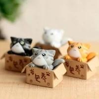 4 pcs creative cartoon cat statue figurine micro landscape home decor art crafts desktop decoration ornament birthday gift