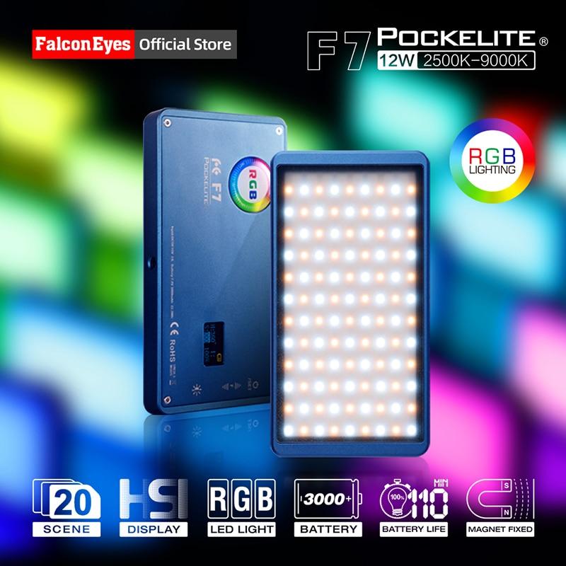 Falconeyes 12w mini bolso rgb led luz na câmera portátil para vídeo/estúdio/youtube/vlog fotografia iluminação lâmpada de preenchimento f7