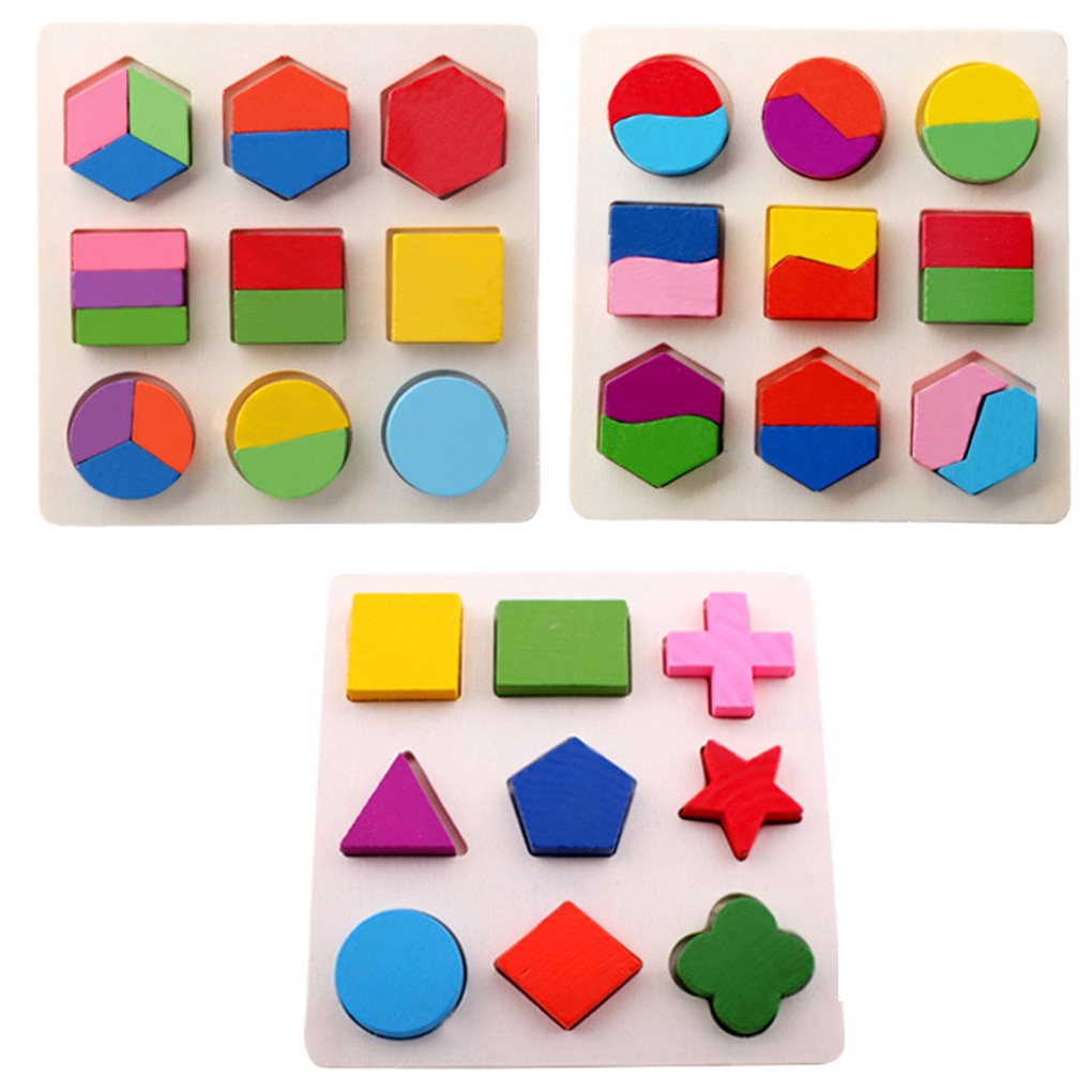 Wooden Puzzles Geometric Shapes Montessori Puzzle Math Bricks Preschool Learning Educational Game Baby Toddler Jigsaw Toys new wooden baby toys montessori wood fractional frame learning educational preschool training baby gifts