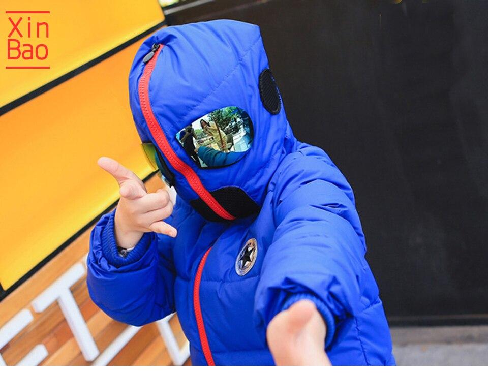 XINBAO new fashion Boys winter jacket Cartoon Hooded Jacket glasses cotton down Baby girls coats parka silver children outerwear