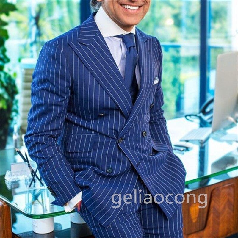 أفضل بيع الأزرق مخطط الرجال دعوى فستان حفلة العريس البدلات الرسمية رجال الأعمال السترة مكتب ارتداء الرجال الدعاوى 2 قطعة (سترة + السراويل)