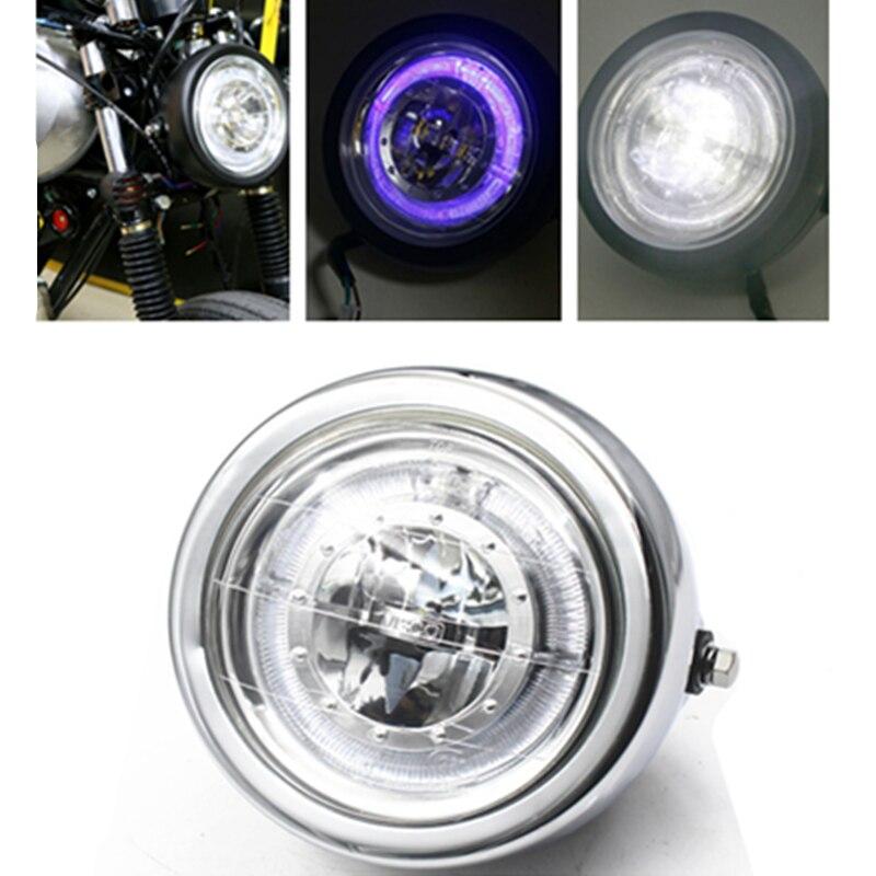 Faro LED de ojo de Ángel para motocicleta, anillo azul, luz alta/Baja, 6 1/2 pulgadas, faro delantero para Harley Honda Yamaha Suzuki Kawasaki CG GN 125