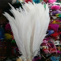 new 50pcslot natural white silver chicken pheasant tail feathers 24 26inch60 65cm for jewelry diy decoration plumas de faisan