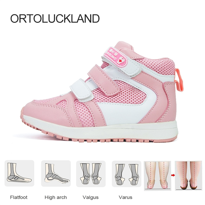 Ortoluckland Children Sport Sneakers Girls Leather Orthopedic Shoes For Kids Boys Fashion Pink Hook Loop Running Casual Booties