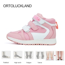 Ortoluckland Children Sport Sneakers Girls Leather Orthopedic Shoes For Kids Boys Fashion Pink Hook