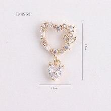 5 pièces coeur amour pendentif or Zircon perle Nail art bijoux ongles décorations cristal manucure zircon diamant ongles breloques TN4953