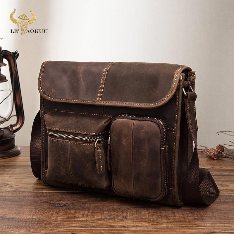 Original Leather Male Casual Design Student Shoulder Messenger Crossbody bag Fashion College Satchel