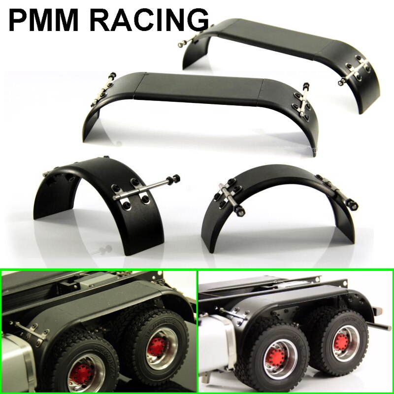 Metallic aluminum alloy Wheel eyebrow Fender Mud retaining plate Tire cover For 1/14 Tamiya RC Truck car Scania MAN Actros Volvo enlarge
