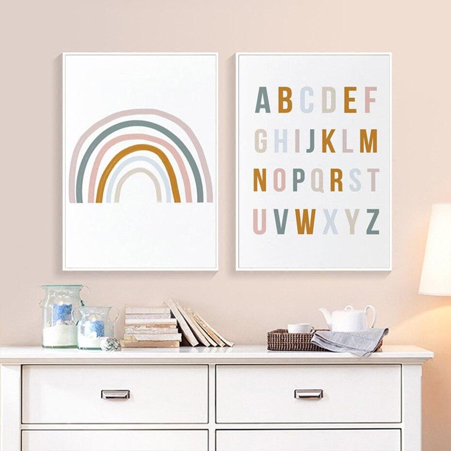 Decoración del hogar Rainbow Nursery abecedario ABC cartel cuadro sobre lienzo para...