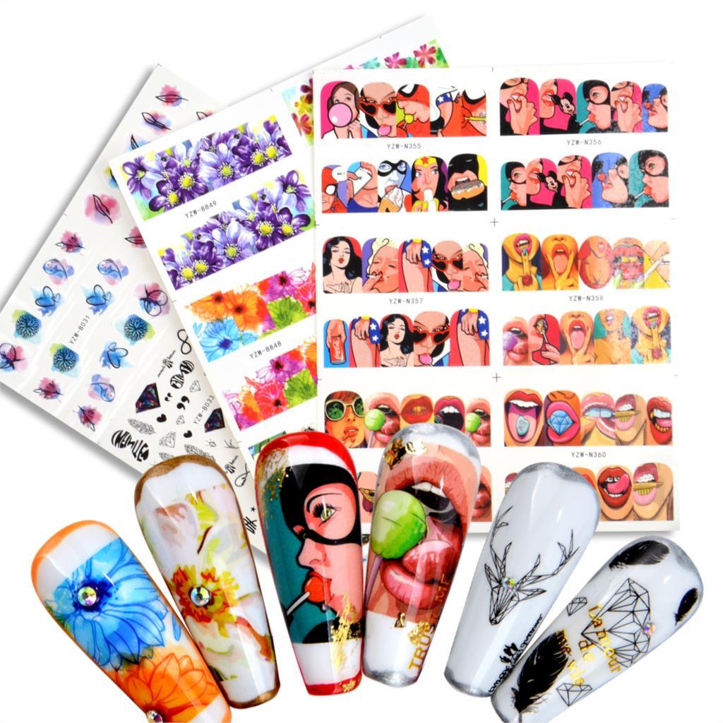 WUF 6 pegatinas con diseños para uñas Set mixto Floral geométrico Sexy Girl Nail Art calcomanías de transferencia de agua tatuajes deslizadores manicura