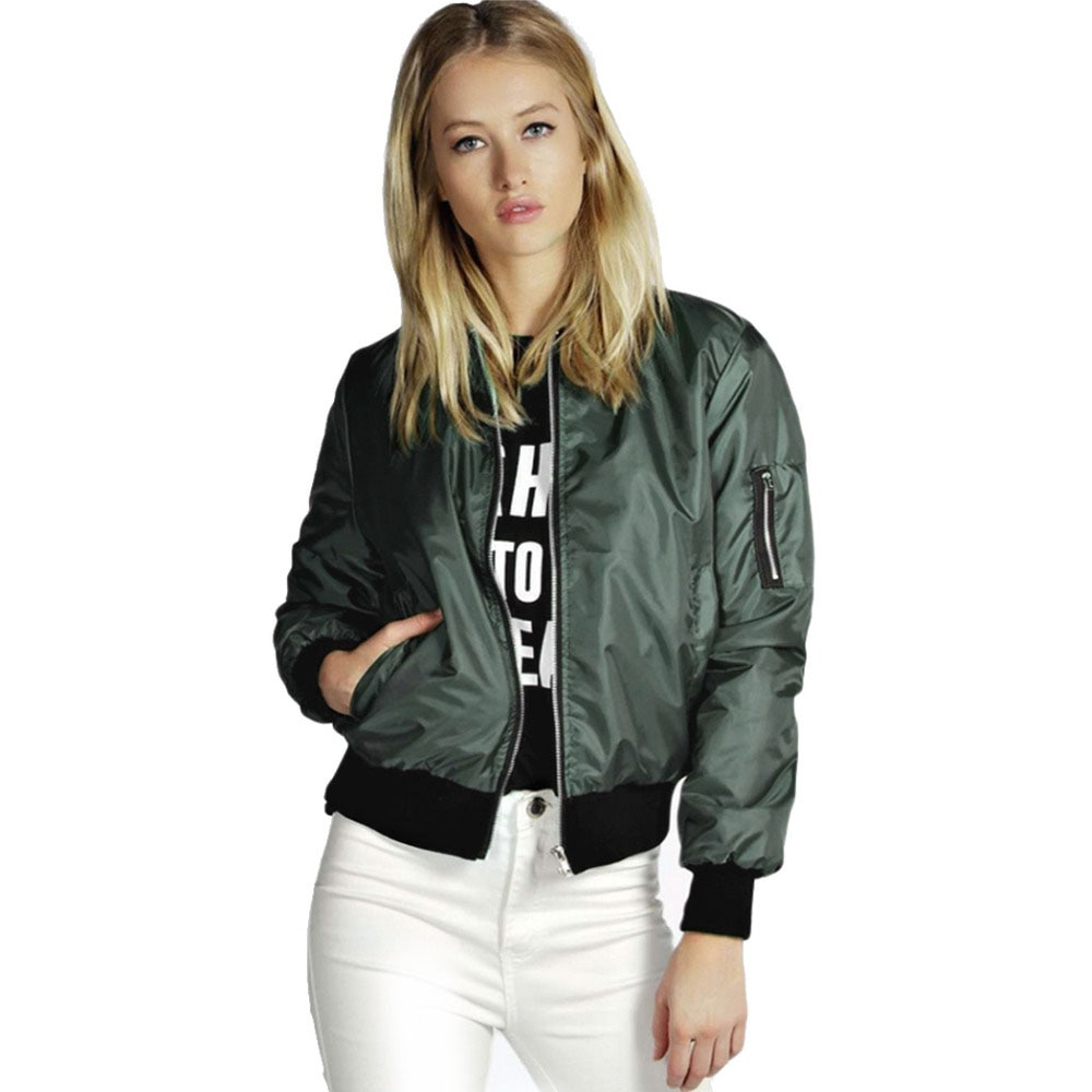 2021 Spring Autumn Women Thin Jackets Tops MA1 Basic Bomber Jacket Long Sleeve Coat Casual Stand Col
