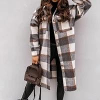 2021 winter checked women jacket turn down overcoat thin plaid long coat oversize thin retro female streetwear shirt jacket