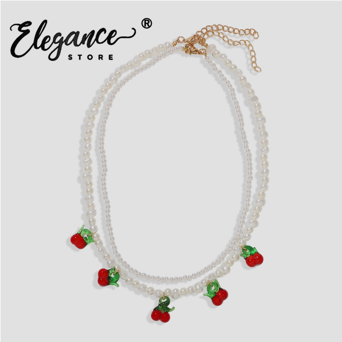 Eleganz ZA Kirsche Obst Anhänger Halskette für Frauen Simulieren Perlen Schicht Choker Halskette Boho Schmuck Hochzeit Party Großhandel