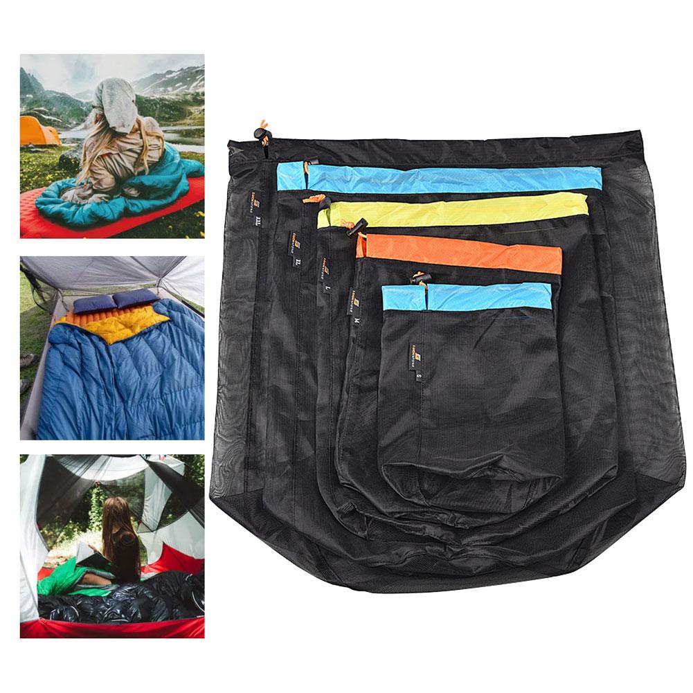 Bolsa tipo saco de viaje comprimible de malla con cordón, bolsa ligera...