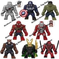 pg8261disney marvel iron man spider man loki captain american big building blocks bricks action figure kids toys birthday gifts