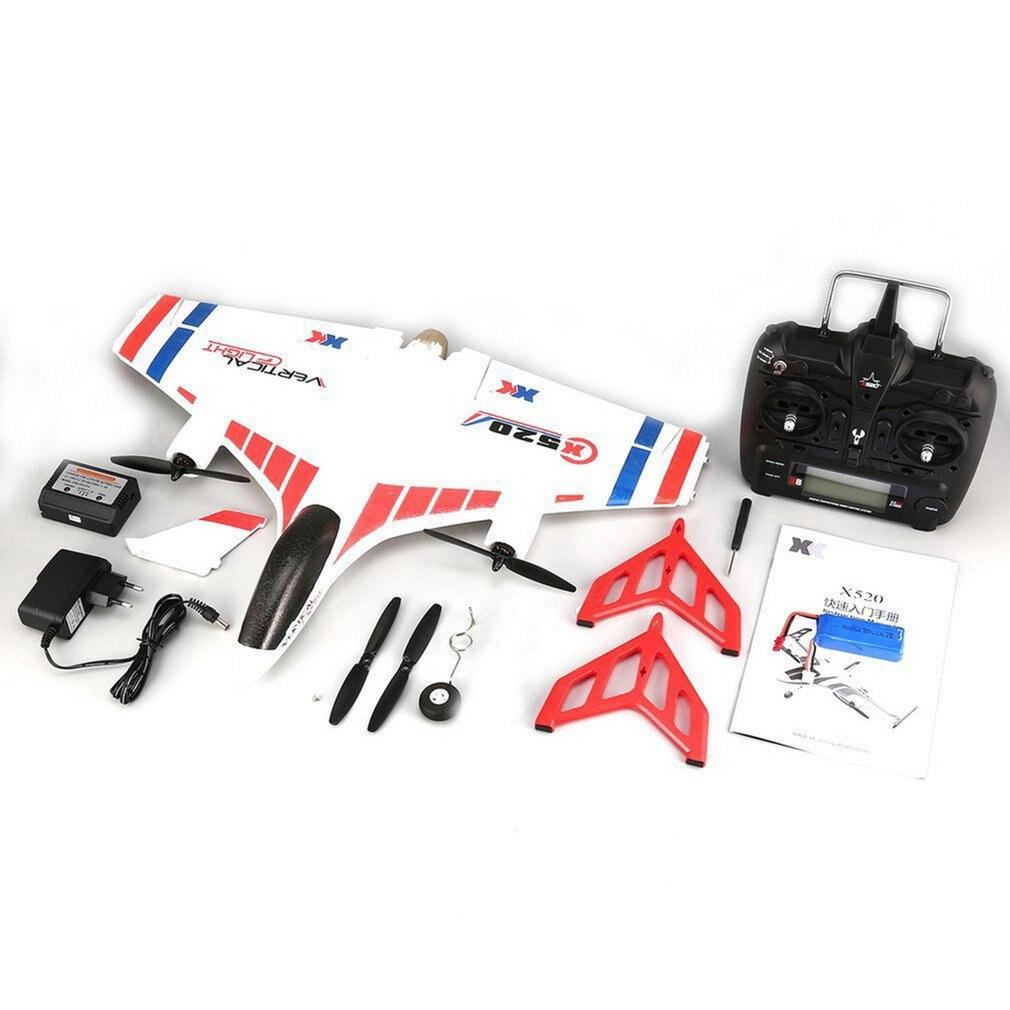 XK X520 RC 6CH 3D/6G RC avión VTOL Vertical despegue tierra Delta ala RC Drone ala fija Avión de juguete con interruptor de modo luz LED