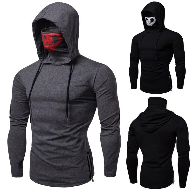 Nueva camiseta de manga larga con capucha de uniforme ninja de fitness para hombre, máscara de calavera de alta calidad de manga larga
