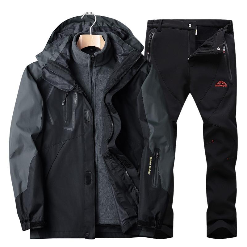 بدلة تزلج, طقم تزلج للرجال ملابس تزلج ملابس لوح التزلج مقاوم للماء والرياح سترة من الصوف + بنطال بدلة الثلج