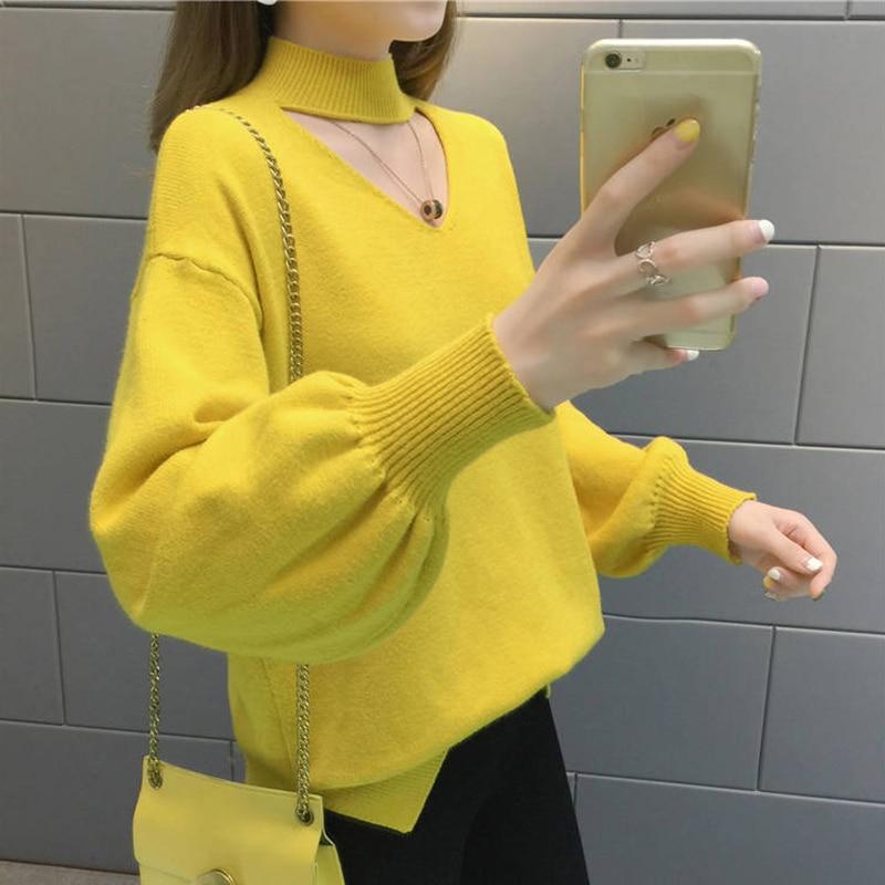 Suéter de punto de manga de linterna con agujeros para mujer invierno cálido tirar de mujer coreano suelto suéter de mujer de cuello alto sólido jersey