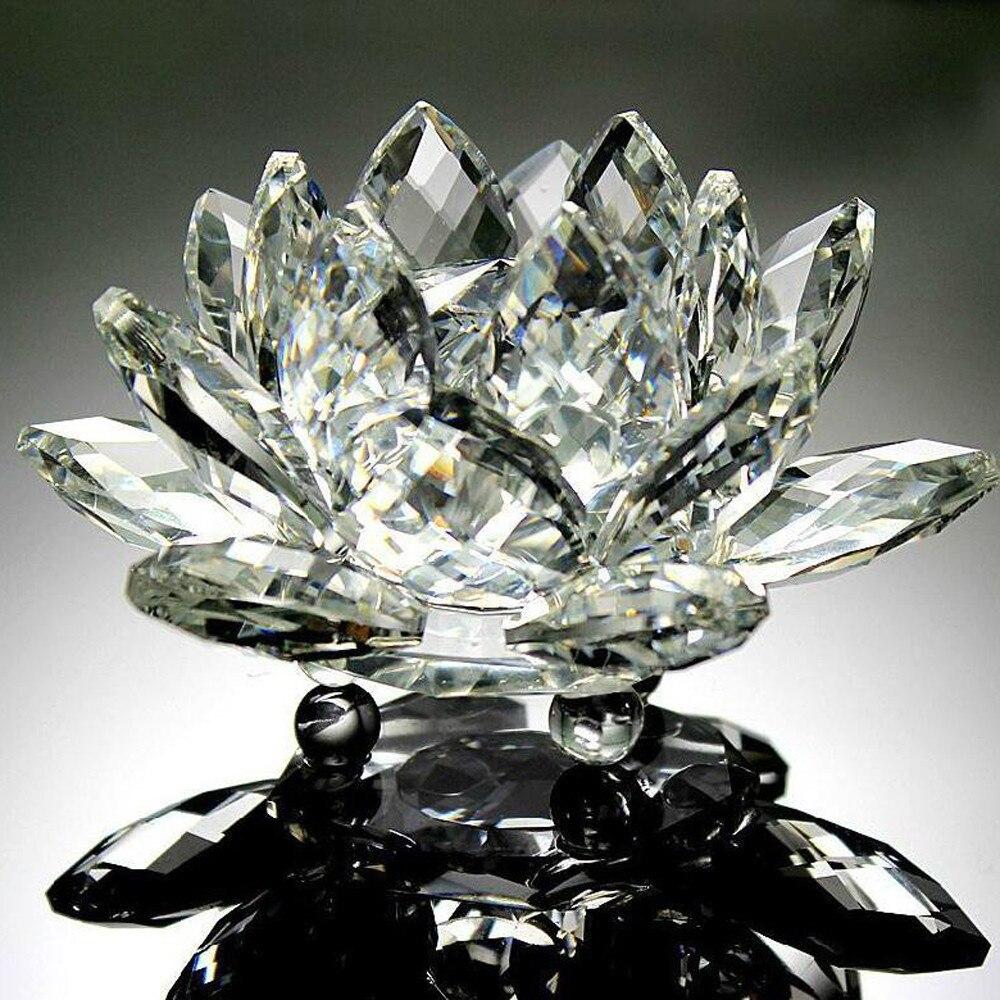 Figuras de cristal con forma de Loto para decoración del hogar, adornos...