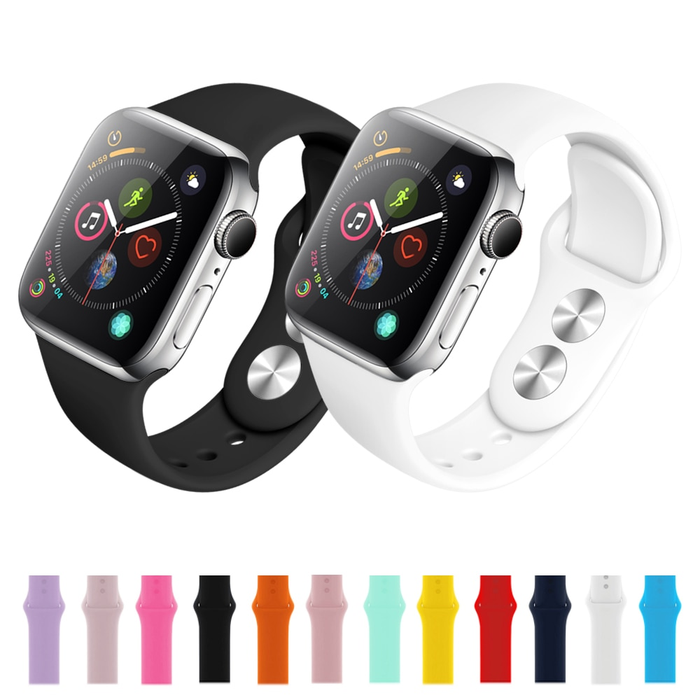 Силиконовый ремешок для часов Apple Watch 5 4 44 мм 40 мм ремешок для iwatch Apple Watch Series 3 2 1 38 мм 42 мм