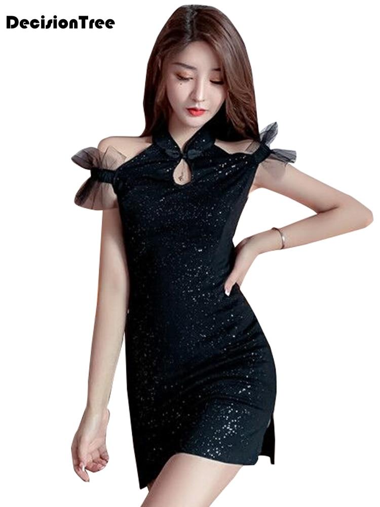 2020 vestido chinês feminino elegante estilo aodai na altura do joelho qipao vestidos de festa casamento sexy split cheongsam