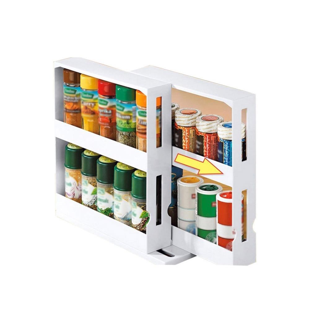 Storage Rack Modern PP Cupboard Multifunctional Large Slide Home Spice Organizer Desktop Rotating Shelf Kitchen Cabinet
