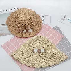 Chapéu de palha das crianças verão bebê meninas dobrável princesa arco-laço respirável máscara balde pescador boné protetor solar praia sol chapéu